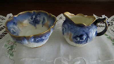 1920's George Jones & Sons Crescent China Blue and Gold Sugar Bowl, Cream Jug -