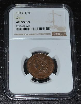 1833 1/2C Classic Head Half Cent Graded by NGC as AU 55 BN ----  Variety C1