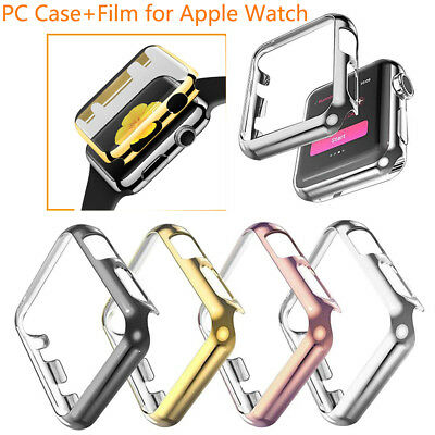 For Apple Watch 38/42mm Slim Full Body Cover Snap On Metal Case+Screen Protector