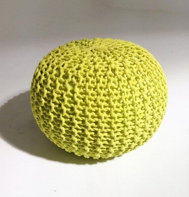 Handmade Round Knitted Pouf - Sunny Lime 50x35cm Modern Decor Ottoman Footstool
