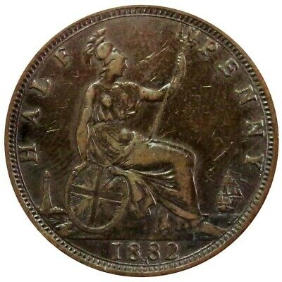 1882 H Heaton Great Britain 1/2 Penny Queen Victoria Copper Coin Extremely Fine
