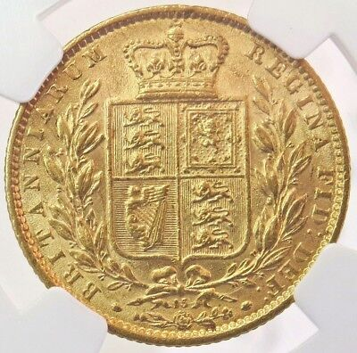 1869 Gold Great Britain Queen Victoria Shield Sovereign Coin Ngc About Unc. 50