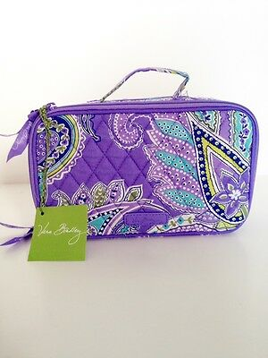NWT Vera Bradley Blush And Brush Makeup Case In Lavender Paisley