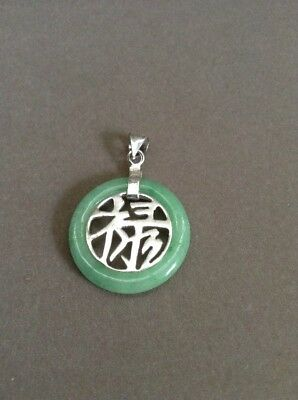 Vintage 925 Silver and Jade Character Pendant