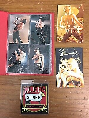Queen Photo Set - 18 Photographs Freddie Mercury, Brian May Plus Security Badge