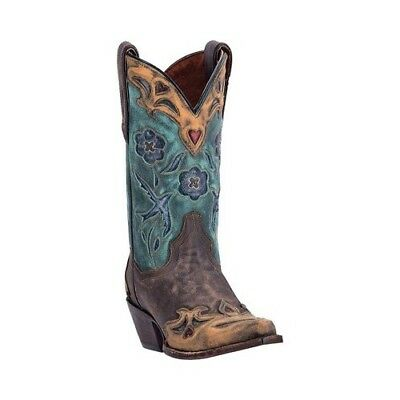 Dan Post Boots Women's   Vintage Blue Bird DP3544 Sanded Chocolate Leather Size