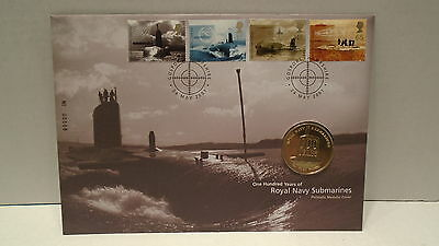 Great Britain 2001 Cover with Royal Navy Submarines medallion 100 Anniversary