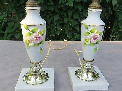 Small Vintage Pair of Cottage Chic Porcelain Boudoir Table Lamps with Flowers