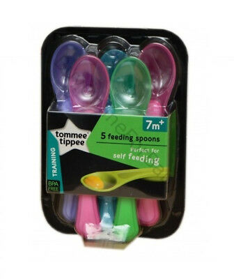 New Baby Trening Feeding Spoons Scoop Tommee Tippee Explora Set 5 Pcs Pink 7m+