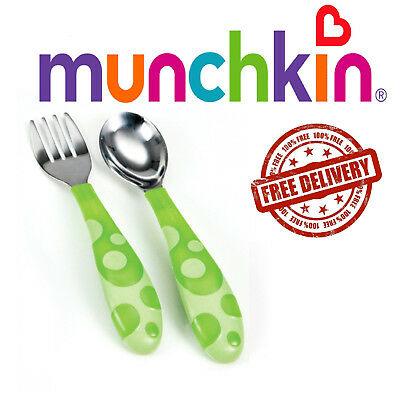 New Baby Feeding Forks and Spoons Scoop Food Trening Munchkin 12m+ Green