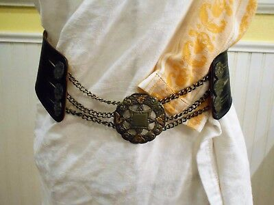 Woman's VINTAGE LEATHER RENAISSANCE BELT Boho Military ANTIQUE Buttons Medal