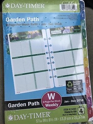 Garden Path Day Timer Refill 2018 Two Page Per Week Size 4 W 5.1/2 X 8.1/2 inch