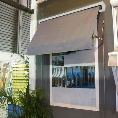 Retractable fixed arm outdoor exterior window awning blind 2.4x2.1m in Grey