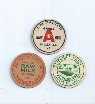 "three different  ""Virginia""  milk bottle caps."