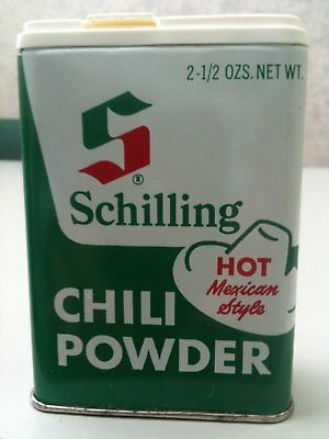 Rare Vintage SCHILLING CHILI POWDER CAN/TIN HOT Mexican Style 2 1/2 OZS. NET WT.