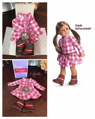American Girl Doll Western Plaid Outfit 3pc Dress Boots Belt Truly Me NIB Tenney