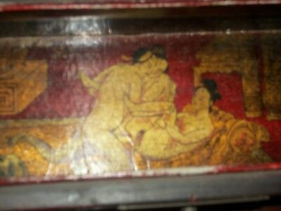 ANTIQUE VINTAGE Chinese Japanese Asian Box Red Lacquer Nude erotic paintings