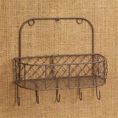 Wire Wall Basket with Hooks, Primitive, Rustic, Chicken Wire, New