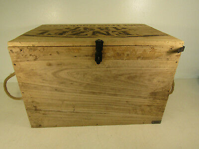 Vintage Wenzel 1887 Wooden Storage Crate Empty Rope Handles Home Décor