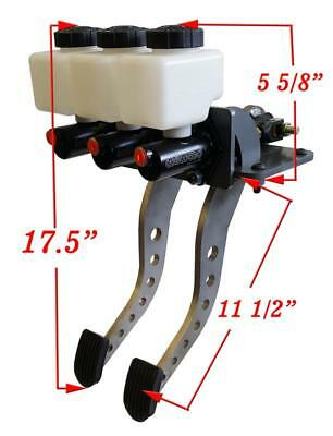 Reverse Mount Pedal Assemby - Brake + Gas pedal - rounded and polished