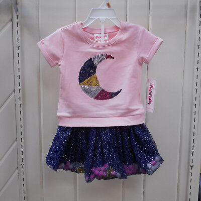 Toddler Girls Flapdoodles Size 2T 3T & 4T $40 Moon Shirt & Skort 2PC. Set