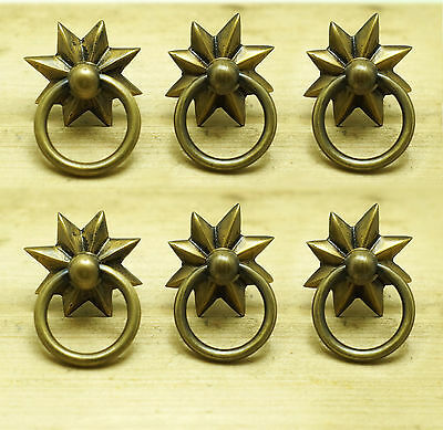 Set of 6 pcs Vintage STAR Ring Pull Cabinet Solid Brass Handle Knob Pulls