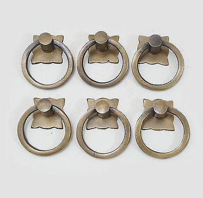 Set of 6 pcs Vintage Classic Ring Pull Solid Brass Cabinet Drawer KNOB Pulls