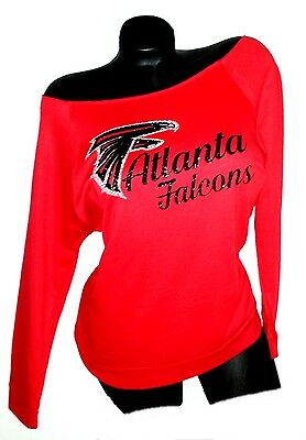 Atlanta Falcons Red Scoop Neck Rawedge Terry Lt.Wt.Jersey 3/4 Sleeve!Super Bowl!