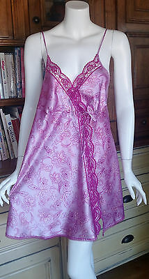 Angels by Victoria's Secret Satin Slip Chemise Pink Floral with Lace Size Large