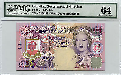 Gibraltar Government of Gibraltar 20 Pound PMG 64 Choice Uncirculated EPQ