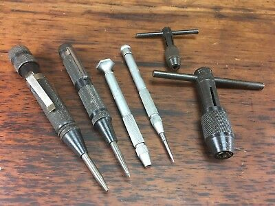 Lot X6 Vintage Eclipse Engineers Tools Auto Center Punches Scribes Tap Wrenches