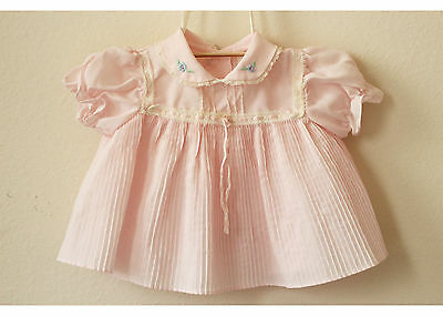 Vintage Embroidered Pink Baby Dress