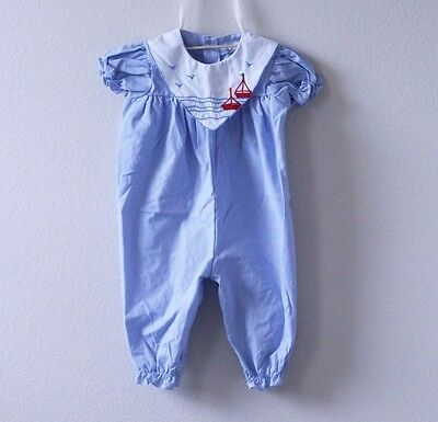 Vintage Light Blue Baby Romper
