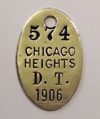 1906 Chicago Heights Illinois DOG TAX tag DOG LICENSE tag Vintage antique token