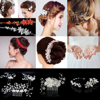1/3PCS Bridal Crystal Pearl Hair Comb Hairpin Wedding Handmade Hair Ornaments