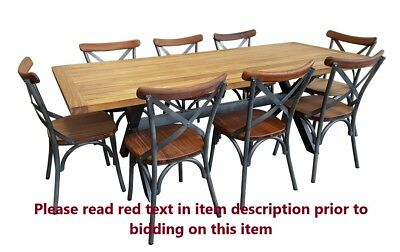 Ex Display Teak 9 Piece Outdoor Dining Setting Patio Furniture