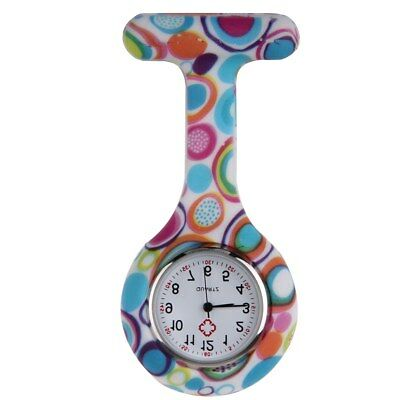 Nurses Coloured Patterned Silicon Rubber Fob Watches - Colourful Bubbles