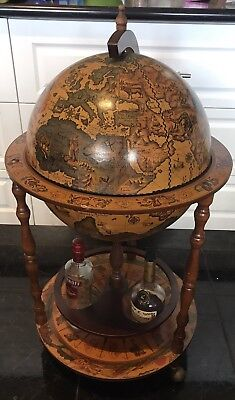 Antique Style Globe Alcohol Cabinet Mini Bar Drinks Serving Trolley