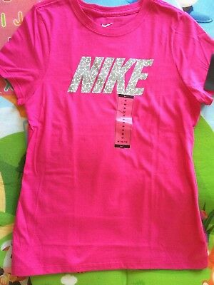 Brand New Nike Girl's Short Sleeve Pink Tee, Size M, 100% Cotton