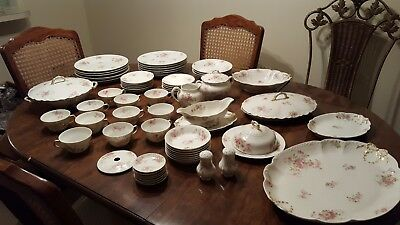 Vintage Antique HAVILAND LIMOGES FRANCE Pink Rose China Set LOT 70 PIECE local