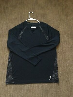 Reebok Black Long Sleeve Athletic Shirt Size L Men's
