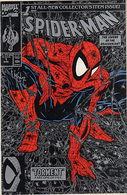 Spider-Man #1 (Aug 1990, Marvel) Signed by Todd McFarlane Silver Cover
