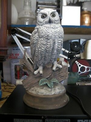 """Vintage 12"""" Tall Ceramic Snow Owl Statue Figurine Perched on Branch"""