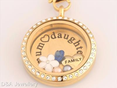 Floating Locket Mum Daughter Family SET Birthstone Crystal 30mm Stainless GOLD