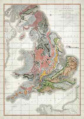 Old antique first geological map England & Wales Britain W Smith 1815 art poster