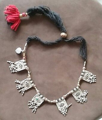 Antique India Rajasthan solid silver gypsy tribal necklace