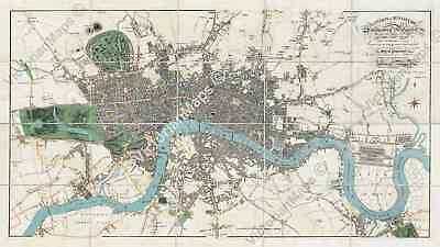 Old antique Victorian map of London guide plan Edward Mogg 1814 art poster print
