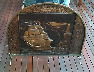 Vintage Brass  Fire Screen. Embossed Sailing Ship Nautical Scene.