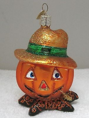 "Older Old World Christmas Halloween Ornament Pumpkin with Hat 4"" x 2 5/8"""