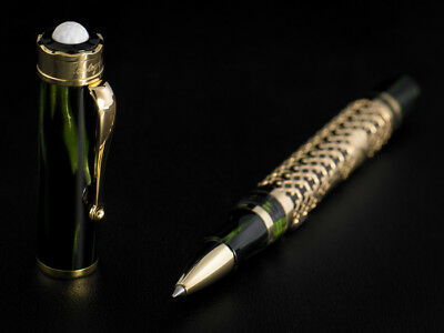"""Montegrappa St. Andrews Solid 18K Yellow Gold """"Bamboo""""RollerBall Pen Ltd Edition"""